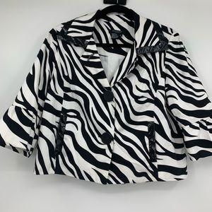 Sandro Sport M Jacket Blazer Zebra Animal Print